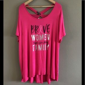 NWT Lane Bryant Pink Breast Cancer Graphic tee